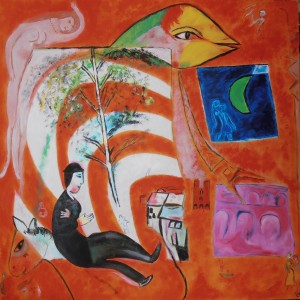 d'après Chagall. Toile format 80X80