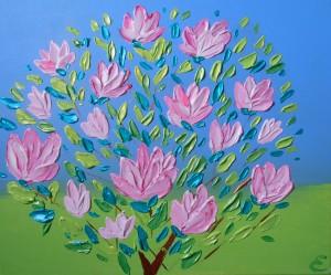 magnolia.acrylique sur toile 38x46.50 €