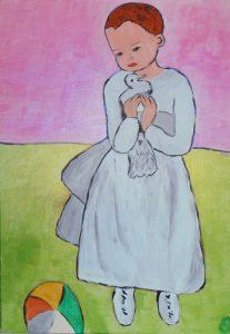 enfant à la colmobe de Picasso .acrylique sur toile 55x38