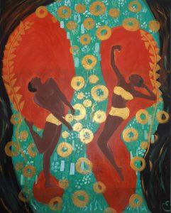 danseurs noirs. acrylique sur toile .81x65