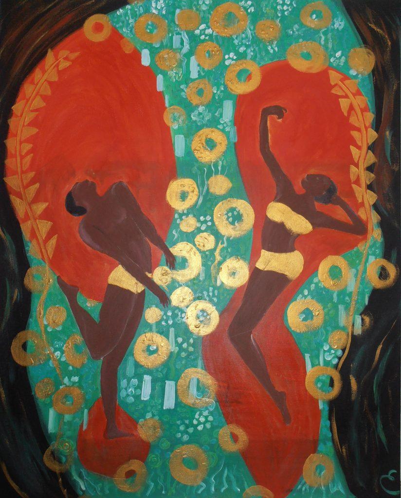 danseurs noirs. acrylique sur toile .81x65. 150 €