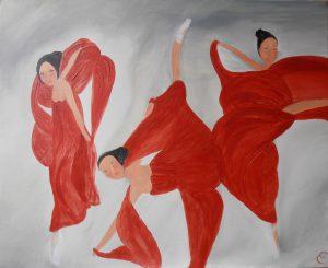 danseuses.acrylique et pigments sur toile .51x60