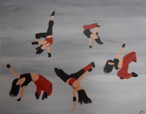 danseuses de breakdanse .acrylique sur toile 61x50
