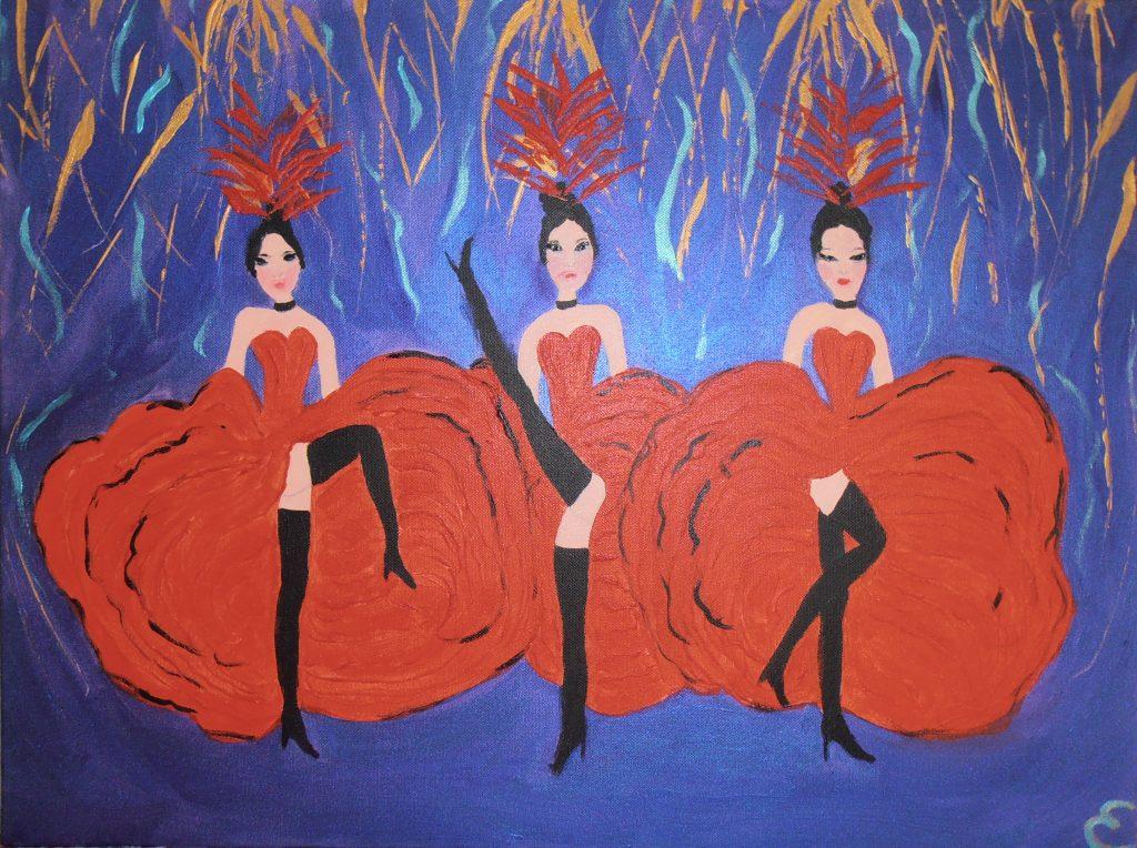 danseuses de cancan.acryliques sur toile 61x46 60 €