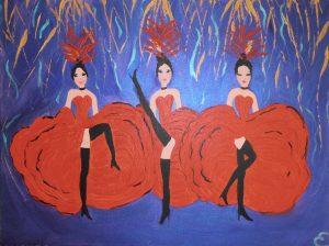 danseuses de cancan.acryliques sur toile 61x46