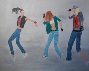 danseuses de hip-hop. acrylique sur toile 81x65