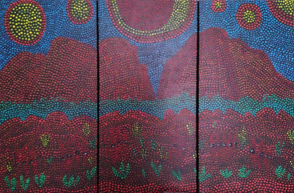 roches rouges de Kata Tjuta. tryptique.pigments sur toile. 3x40x80