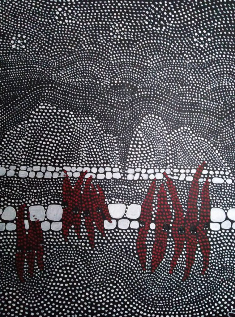 Fleurs de pois du désert. Australie. pigments sur toile.81x60