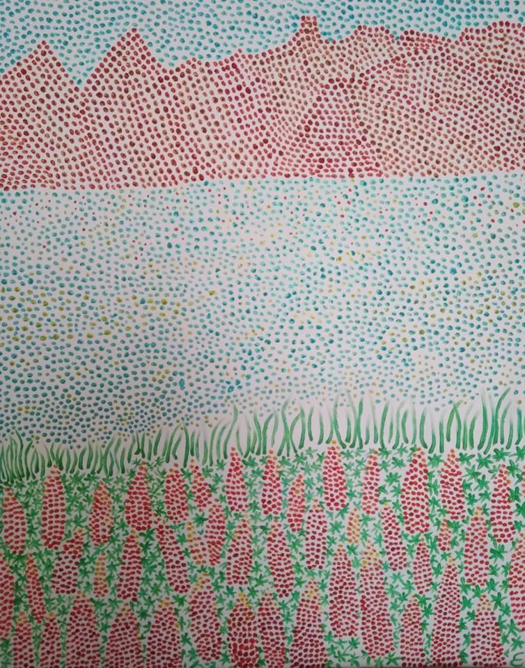 lupins lac Tekapo ,Nouvelle-Zélande. pigments et peinture acrylique sur toile 81x65