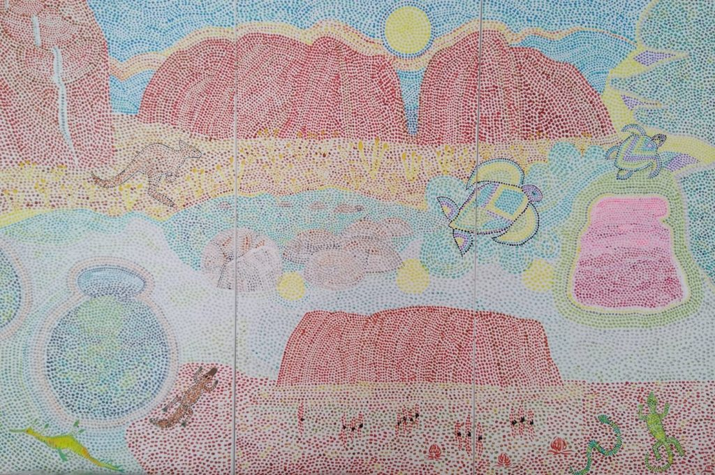 le temps du rêve . tryptique .3x50x100. peinture acrylique et pigments sur toile